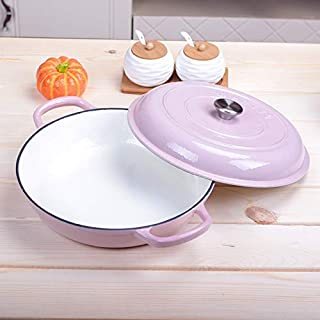 JSMY Versatile Saucepan with lid,Cast Iron Casserole with Non-Stick Enemal Coating,Cyan/Red/Pink 4.6L/30cm-Pink