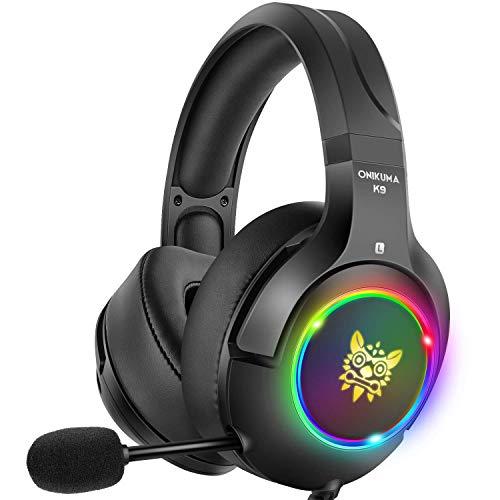 DIZA100 PS4 Gaming-Headset, Xbox One mit 7 Farben, atmungsaktives LED-Licht, Xbox One Headset mit Geräuschunterdrückung, Mikrofon für PS4, Xbox One, PC-Spiele Schwarz
