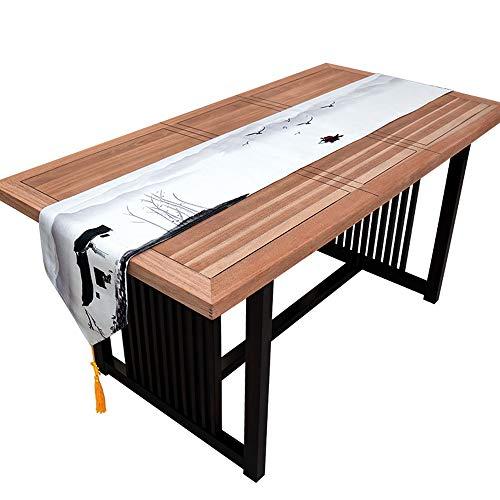 YDDZ Chinese Zen Table Runner, Blauw Landschap, Lange katoenen tafelkleed, Tassel Design Home Decor Party|Geschenk|Bed|Eettafel|Huwelijk, 30x160/180/200/220/240cm ++