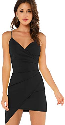 Verdusa Women s Sexy Ruched Side Asymmetrical V Neck Bodycon Cami Dress Black XS product image