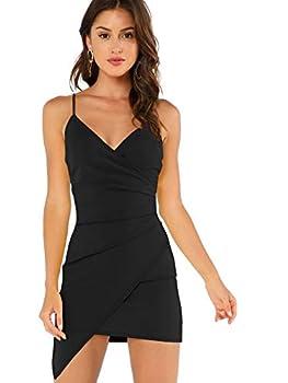 Verdusa Women s Sexy Ruched Side Asymmetrical V Neck Bodycon Cami Dress Black M