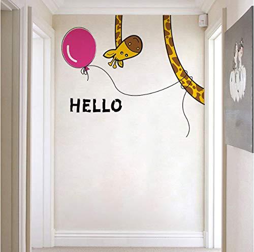 hfwh Muurtattoo - Creatieve giraf voor kinderen kinderen kinderen slaapkamer sticker woonkamer deur raam glazen wandafbeelding huis decoratief 30x60cm