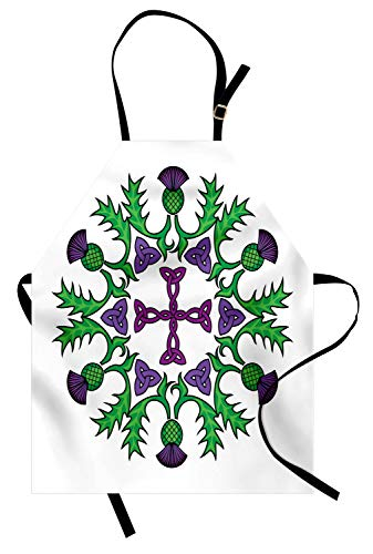 Ambesonne Thistle Apron, Abstract Wreath Image with Flowers of Thistles and Celtic Knot, Unisex Kitchen Bib with Adjustable Neck for Cooking Gardening, Adult Size, Violet Green