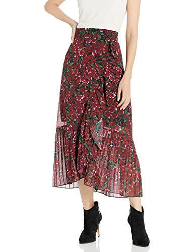 The Kooples Women's Women's Maxi, Pleated Skirt in a Floral Print, Burgundy, 3