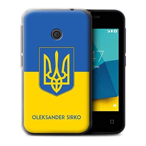 eSwish Personalisiert Individuell National Nation Flagge Gel/TPU Hülle für Vodafone Smart First 7 / Ukraine/Ukrainisch Design/Initiale/Name/Text Schutzhülle/Case/Etui
