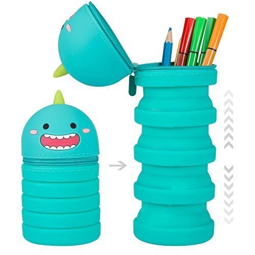 Silicone Dinosaur Stand Up Pencil Case- Telescopic Standing Pencil Holder with Zipper Cartoon Pen Pouch with Handle School Stationery Supplies for Kids Children Students Holiday Present Goodies Blue