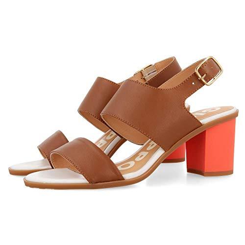 Gioseppo Amboy, Zapatos de tacón con Punta Abierta Mujer, Marrón (Cuero Cuero), 36 EU