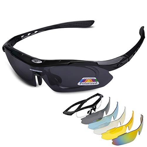 LumiSyne Sportbrille Polarisiert Herren und Damen Radsportbrillen mit 5 Wechselgläsern UV 400 Schutz Superleichte Rahmen mit Sonnenbrillenband für Sport Freizeit Radfahren Motorradbrille(Schwarz)
