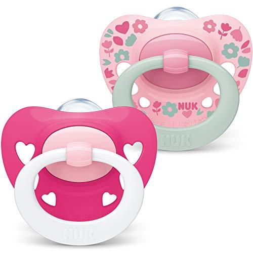 NUK Signature Baby Dummy | 6-18 meses | Chupetes de silicona sin BPA | Corazones rosados | 2 unidades