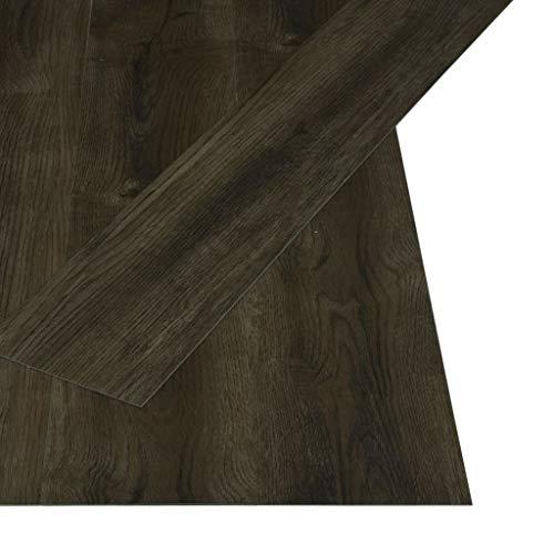 vidaXL 32x Laminat Dielen Fußboden Vinylboden Vinyl Boden Planken Bodenbelag Designboden PVC Selbstklebend 4,46 m² 3mm Dunkelbraun Rutschfest Wasserfest