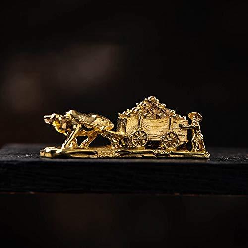 YGAKX Figuras de Carro de Buey de Cobre Antiguo, miniaturas,