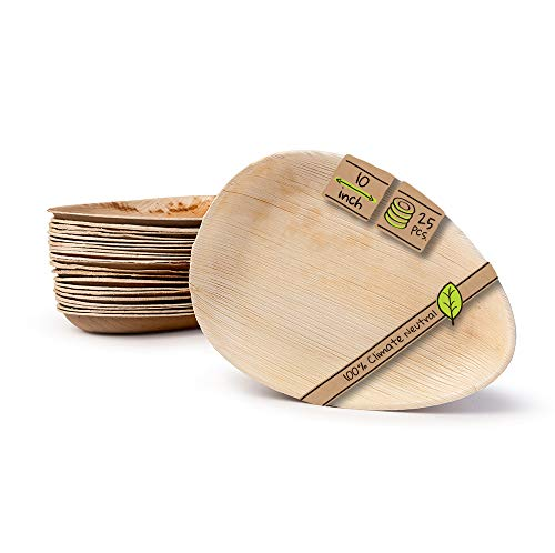 "Naturally Chic Compostable Biodegradable Disposable Plates - Palm Leaf 10"" Oval Small Dinnerware Set - Eco Friendly Alternative - Party, Wedding, Event Plates (25 Pack)"