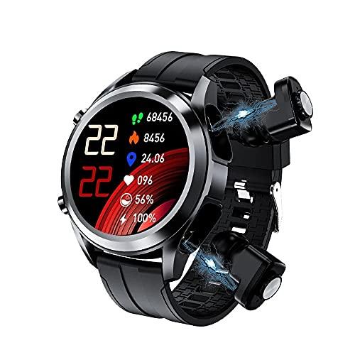 Reloj Inteligente Hombres smartwatch TWS 2 en 1 DE Alta FIDELIDAD Stereo Auriculares inalámbricos Combo Bluetooth Llamada para Android iOS