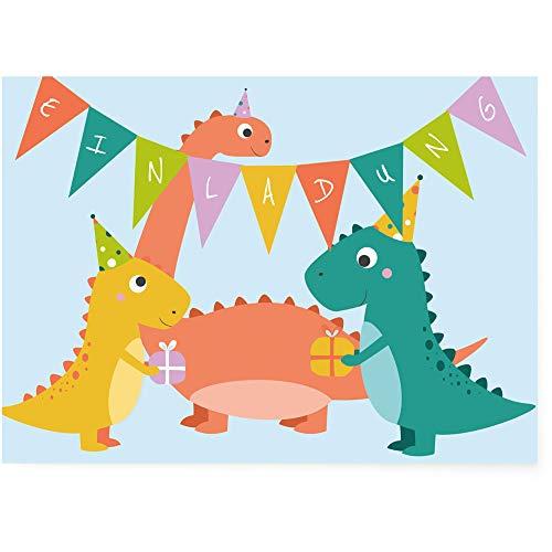 Postkartenschmiede Dino Einladungskarten (10er-Set) - Einladung zum Kindergeburtstag - Junge