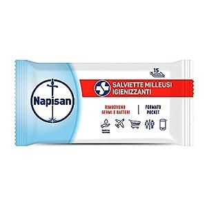 Napisan 15 Salviette Igienizzanti Milleusi, Salviette Umidificate, Formato Pocket – 77 g