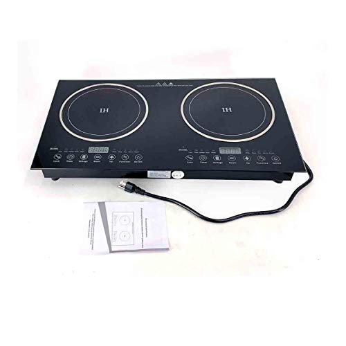 Amazing Deal NICCOO Double Induction Cooktop – Portable LCD 110V Portable Digital Electromagnetic Ceramic Dual Burner w/Kids Safety Lock – Works with Flat Cast Iron Pan,1200W, 14 Touch Sensor Controls