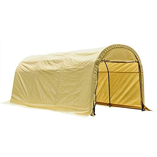 Poste publicitario redondo para trabajos pesados con cremallera garaje portátil al aire libre almacenamiento toldo beige 10 x 20 m
