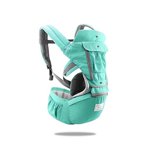 SONARIN 3 en 1 Multifuncional Hipseat Baby Carrier, Portador de bebé,Anverso y Reverso,100% Algodón,Ergonómica, Tamaño Libre(Verde)