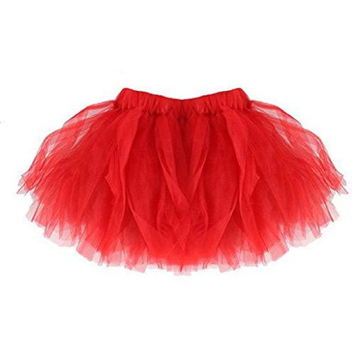 Falda del Tutu para Niña,SHOBDW Bebé Lindo Regalos de cumpleaños para niños Niños Vestidos de Baile Mini Faldas de Ballet Plisadas Rendimiento Fiesta de Lujo(Rojo)