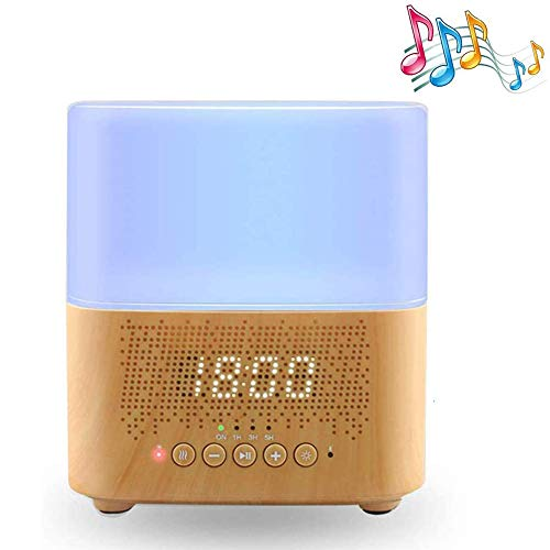 WJ Bluetooth Ätherisches Öl-Diffusor, 300Ml Holzmaserung Ultraschall-Aroma Diffuser Mit Lautsprecher, Schlafzimmer Nacht 7-Farben-LED-Nachtlicht-Luftbefeuchter, Digital-Wecker