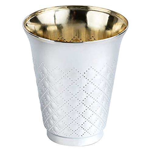 Silver Like Coated Elegant Cutlery Plastic Silverware Disposable Kiddush Wine Cups, 10 Pack, 6 oz, for Wedding, Passover Seder, Gifts, Kids