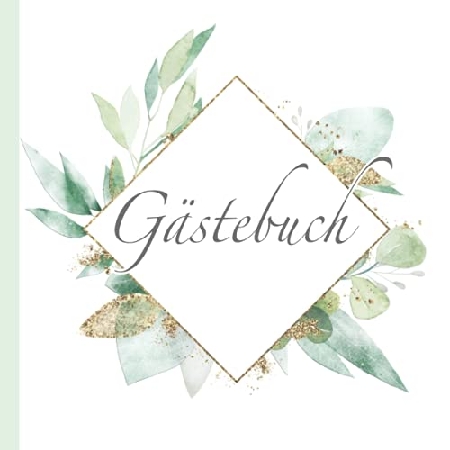 Gästebuch: Edles Boho Design in Grün Gold Weiß I Blanko für Poesie, Sprüche, Gedichte &...