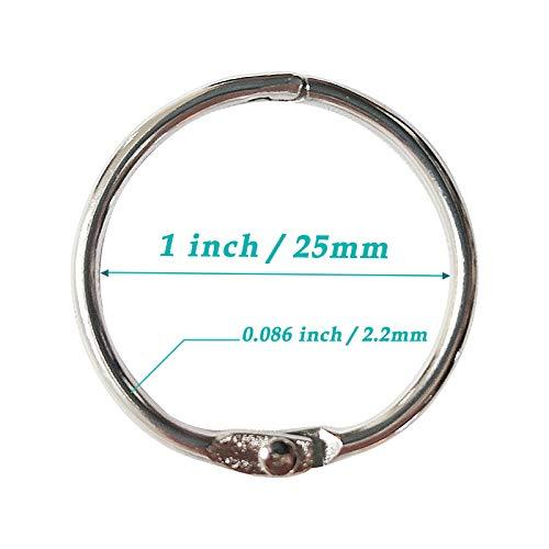 1 Inch (100 Pack) Loose Leaf Binder Rings, Office Book Rings, Nickel Plated Steel Binder Rings, Metal Book Rings for School, Office and Home- Silver