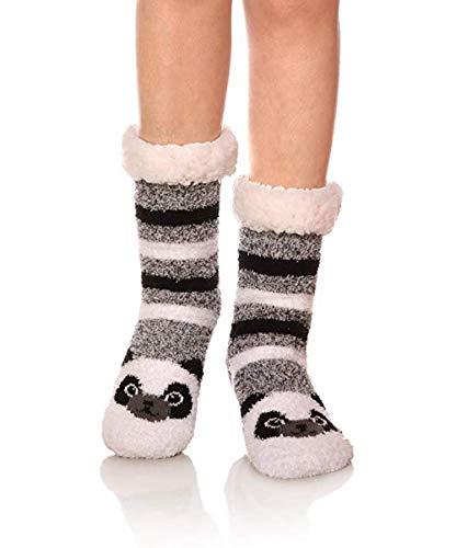BAONUANM Baonuan Hausschuh-Socken, warm, dick, weich, rutschfest, grau-schwarz gestreift, Panda, für Erwachsene, Hausschuhe