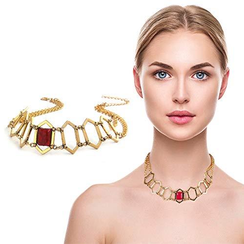 qingning Thrones Melisandre Halskette Cosplay Rubin Necklace Zubehör Kostüm