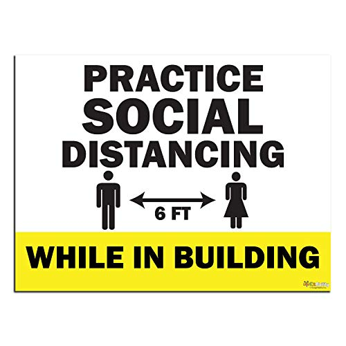 KitAbility Practice Social Distancing Yard Sign for Businesses, While in Building, 24 by 18 Inch Yellow Yard Sign