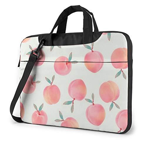 Pink Peach Pattern Laptop Shoulder Bag Waterproof Messenger Bag Carrying Briefcase Sleeve Case 15.6 Inch