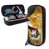 ~ Bolsa para bolígrafos Animal King Series Lion (2) de cuero bolsa de papelería estuche de maquillaje caja de oficina pluma bolsa de almacenamiento bolsa de cosméticos bolsa de cuero