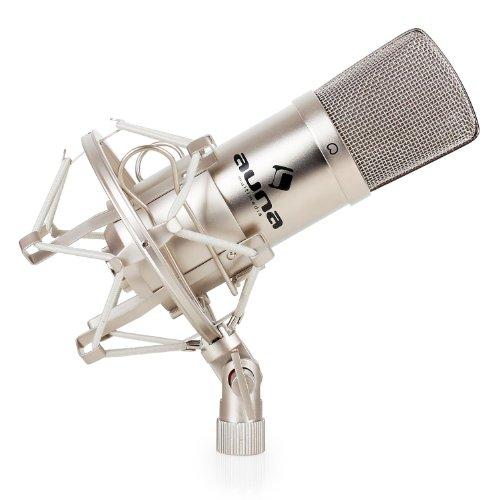 auna CM001S - Mikrofon, professionelles Studiomikrofon, Kondensatormikrofon, ausgeprägte Nierencharakteristik, 32 mm Kapsel, kratzfeste Oberfläche, Mikrofonspinne, Windschutz, silber