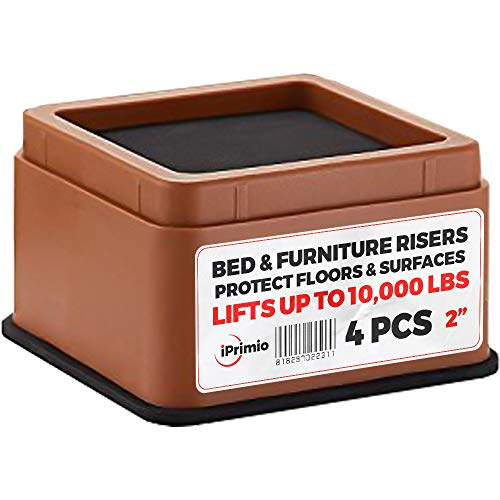 """iPrimio Bed and Furniture Risers – Square Elevator up to 2"""" Per Riser and Lifts up to 10,000 LBs - Protect Floors and Surfaces – Durable ABS Plastic and Anti Slip Foam Grip – Stackable (4, Brown)"""