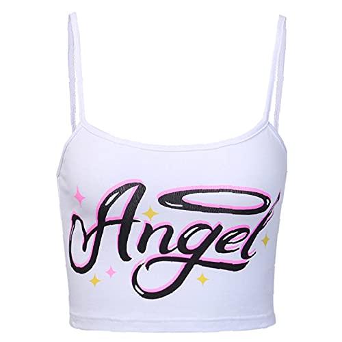 Las mujeres de verano sin mangas Crop Tops Angel Letter Print Cuello redondo Color sólido Camisole Señora Sexy Slim Tank Tops