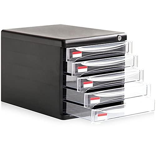 Revistero Rack de archivos de almacenamiento de escritorio con cerradura Caja de almacenamiento de almacenamiento de gabinetes de archivos de gran capacidad de cinco capas Caja de almacenamiento Negro