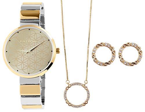 Excellanc Damen-Geschenkset Armbanduhr Kette Ohrstecker Infinity Analog Quarz 1800187 (silberfarbig/goldfarbig)