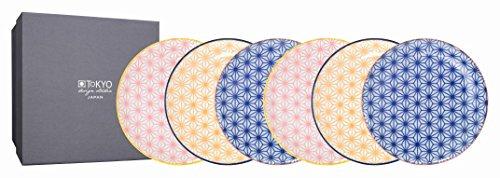 TOKYO design studio Star Wave 6-er Teller-Set bunt, Ø 16 cm, ca. 2 cm hoch, asiatisches Porzellan, Japanisches Design mit geometrischen Mustern, inkl. Geschenk-Verpackung
