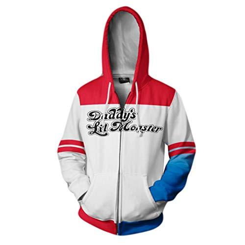 Harley Quinn und Joker Hoodie Jacke Paares 3D-Druck Kleidung Kapuzenpullover Sweatjacke Sweatshirt Langarm mit Reißverschluss Karneval Halloween Verkleidung S-5XL