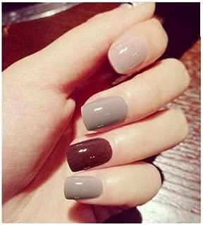 TBOP FAKE NAIL art reusable French long Artifical False nails 24 pcs set in Brown color
