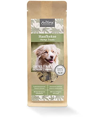 AniForte Hanfkekse für Hunde 200g – Natürliche Beruhigung & Entspannung, Hanf bei Stress & Angst, Snack Leckerlis mit hohem Fleischanteil, Hundekekse getreidefrei