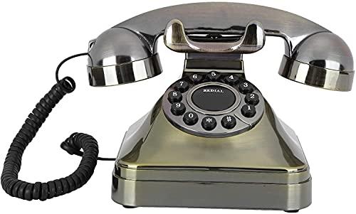 Teléfonos decorativos antiguos Teléfonos caseros Teléfono fijo vintage, hd Clear Llamada estilo antiguo fijo Teléfono vintage digital con auriculares colgantes, botón grande, almacenamiento de números
