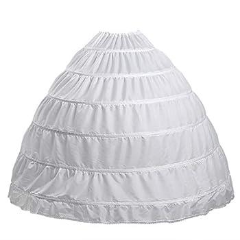 Full 6 Hoop Skirt Floor Length Crinoline Underskirt for Wedding Dress Petticoat  One Size 6 hoops-White