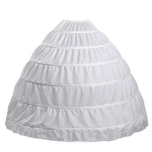 Full 6 Hoop Skirt Floor Length Crinoline Underskirt for Wedding Dress Petticoat (One Size, 6 hoops-White)