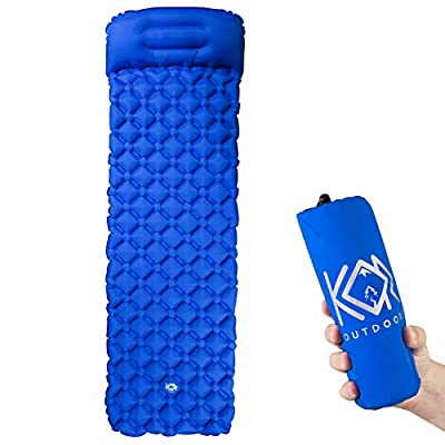 KOR Outdoors Inflatable Camping Sleeping Pad Mattress with Pillow - Blue