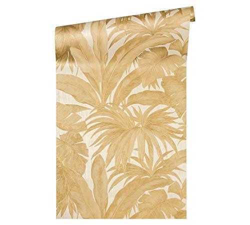 Versace wallpaper Vliestapete Giungla Luxustapete mit Palmenblättern Dschungel 10,05 m x 0,70 m creme metallic Made in Germany 962404 96240-4
