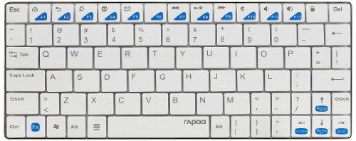 Rapoo E6500 Bluetooth Ultra-Slim Tastatur für Android™ (Multimedia-Schnelltasten, deutsches Layout) weiß