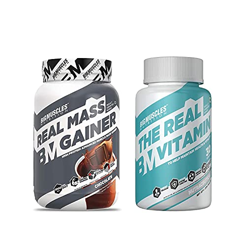 Bigmuscles Real Mass Gainer 1Kg Chocolate & Bigmuscles Real Vitamin 30 Tablets