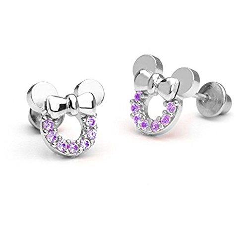Baobei Maus Minnie Schmuck für Frauen Sterling Silber kubische Zirkone Hohl Amethyst Mickey Mouse Ohrstecker Geschenk für Mädchen Kinder (f1781)