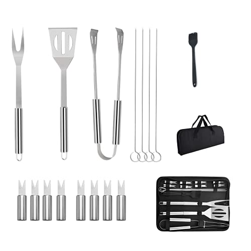 iKesoce 16 Pcs BBQ Grill Tool Set with Storage Bag, BBQ Accessories Stainless Steel Barbecue Tools Set Outdoor Barbecue Grill Utensils Set